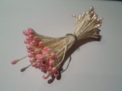 100 x wired Flower stamens, White stem & Baby light pink head, Double headed, Perfect for sugarcraft, crafts